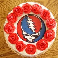 "Grateful Dead Grooms Cake Top view of ""Steal Your Face"" Logo, made with a FBCT (entire top of cake)"
