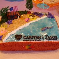 Bridal Shower A friend wanted her bridal shower cake to relate to her upcoming wedding on the beach in Mexico. This was a really fun cake to make. It&#...