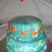 "Underwater Cake This cake is a small 8-inch two-tiered three-layer cake. Devils food cake, with buttercream frosting provide the base for this ""..."