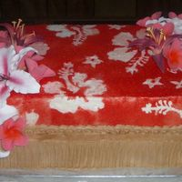 Hawaiian Cake This cake is a two-tiered two-layer white cake with buttercream frosting. The Hawaiin flowers are an airbrushed gumpaste, which due to time...