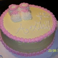 Baby Shower Girl White chocolate cake with buttercream icing. Baby booties are BC covered marshmallows.