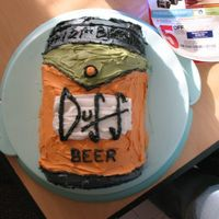 Alesha's 21St Birthday...duff Beer Can Alesha's 21st birthday Duff beer replica cake...she's obsessed with the Simpsons. This is 2 box mixes done in 8 inch rounds,...