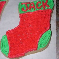 Stocking Cookie butter cookie, buttercream frosting.