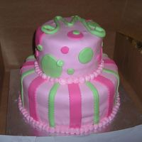 Mary's Birthday Cake This is a french vanilla cake with strawberry filling covered in pink buttercream and pink fondant. I used my new bow cutter to make the...