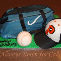 Ball Bag The ball bag is a 11x15 sheet cake cut in half long ways and stacked on top of each other and covered in fondant loosely to make folds. It...