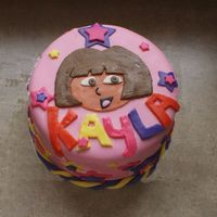Dora Cake White cake strawberry filling covered in fondant