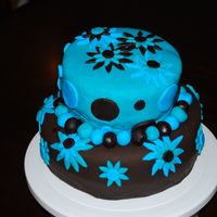 Baby Shower Cake  Chocolate cake with chocolate buttercream icing, covered in Satin Ice chocolate fondant on the bottom and Satin Ice regular fondant on the...
