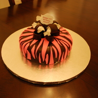 Zebra Cake My third customer!!! Chocolate cake with buttercream icing, Satin Ice fondant decorations. TFL!