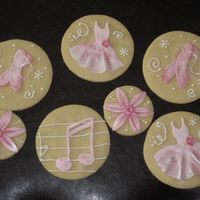 Ballet Cookies Sugar cookies with royal icing and fondant detail, painted with shimmer dusts.