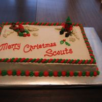 Scout Christmas Cake I did this cake for my son's Boy Scout troop Christmas party. The figures are piped out of BC.