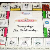 Monopoly Cake I ask last week for help as I had 3 of these to do for a bank event.This is what we came up with.We printed the squares out and applied...