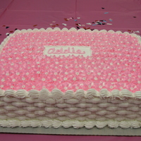 Pink Baby Shower Cake Everything is done in buttercream icing. This was made for a baby shower at work, I am also posting one that I did with blue flowers.