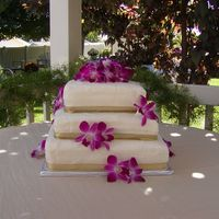 3 Tiered Square Simple 3 tiered cake decorated with orchards