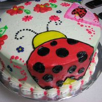 Lady Bug B-Day The customer had me match a napkin. It is all done in butter creamand had to travel so we kept it small. I think it turned out cute. Thanks...