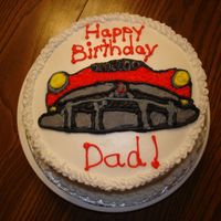 Classic Car Birthday Cake I made this for my friend to give to her dad for his birthday (happens to enjoy classic cars). All decorations are done in buttercream. A...