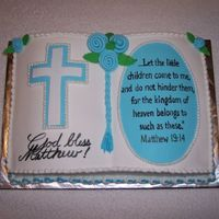 Baptism Book  I used an anitique book pan to make this cake. A lady gave the pan to my aunt and she passed it on to me. It took two mixes to fill it....