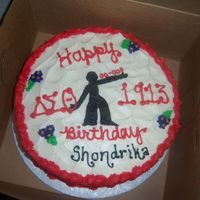 """fortitude"" Red Velvet A cake fit for a Delta. Red Velvet Icing with Delta Decorations. Birthday Girl is a memember of Delta Sigma Theta Sorority Inc."