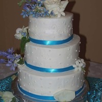 "Sara's Wedding 6/8/10, iced in BC, wrapped in blue ribbon with (plastic) pearls on top of the ribbon. Man, this 6"" top cake gave me fits!! This cake..."