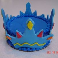 "Crown This was a smash cake for a prince's 1st bday. 6"" round 1 layer white cake, iced with butter cream, crown made from fondant with..."