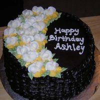 Pansy Birthday Cake  This is a chocolate cake with raspberry/chocolate ganache filling and chocolate buttercream. The pansies are buttercream. This cake was the...