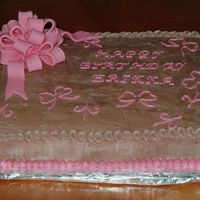 Brown And Pink Chocolate cake with chocolate buttercream.