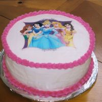 Edible Princess   French vanilla cake with BC icing. First time using an edible image.
