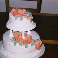 Peach Flowers   Practice wedding cake. Peach flowers are MMF