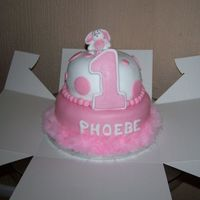Frist Brthday cake made for friends daughter