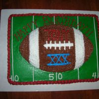 Superbowl Birthday This cake was for a suprise birthday/Superbowl party. The base cake is plain yellow cake and the football is devils food cake. All icing is...