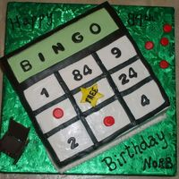 Bingo Cake  This was an 8-inch yellow cake with caramel BC. Thanks to Indydebi for her little picture tutorial on frosting squares - it really helped...