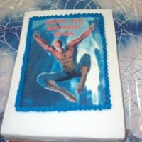 Spiderman Sheet With Edible Image  This is the image that was used to make my friend's son's birthday party invitations. It was a double layer 9x13, chocolate cake...