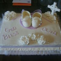 Baby Girl Baptism  The customer wanted mostly white with just a little bit of light purple. This was a vanilla cake with raspberry cream filling. Got the...
