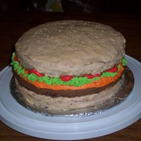 Burger1.jpg  Another Burger Cake! The buns are made out of DH butter recipe/vanilla pudding and the burger is DH devils food/chocolate pudding and iced...