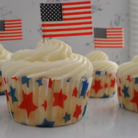 Happy 4Th Cupcakes   Coconut cupcakes with white Chocolate Mousse for frosting.