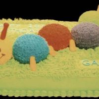 Baby Einstein Caterpillar This picture is awful but the cake was fun. I used fondant for the tail, antennas, and feet.