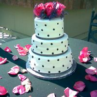 Black & White Dots White mmf with black satin ice fondant dots.