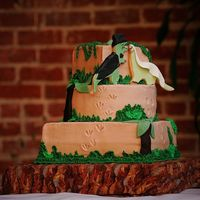 Dinosaur Wedding Cake Buttercream cake. Used leaf tip to make green border. Handmade the leaves for the trees. NFSC for the dinosaur bride and groom. Had to...