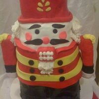 Nutcracker This is carved chocolate cake. Rice crispy treats for the arms. fondant all over. Very fun to do!!