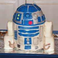 "R2D2 Inspired by sugarlaced. 4 6"" cakes with a small bowl for the rounded top. I put 3 scewers to hold in place. Really fun to make. It&#..."