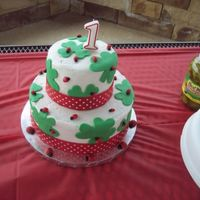 Shamrocks With Ladybugs  This was a First Birthday cake for my friend's little girl who's birthday is on St. Patrick's Day. The shamrocks and...