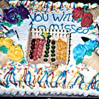 "Garden Theme ""going Away"" Cake! This sheet cake was covered with buttercream and decorated with miniature tools and candy products. It says, ""You will be missed&quot..."