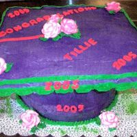 Purple Morter Cap Graduation Cake! Decorated in buttercream and fondant.