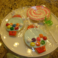 Candy Party Bubble gum machine cookies and lollipop cookies for a candy theme party