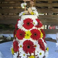 Gettin' Hitched This cake was made for a couple who were wed outdoors by a 100 year old barn. It is covered with fresh Gerbera daisies - some woven around...
