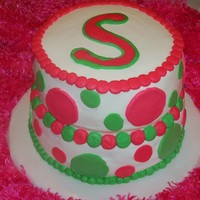 Polka Dots! All buttercream, pink and green polka dots for 1st birthday party!