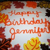 Fall Birthday made for my neice, all buttercream my version of Jenncowin fall leavesthanks for the inspiration..