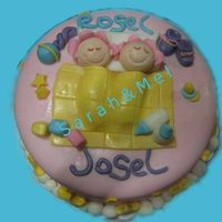 Twins Baby Shower Cake   Chocolate cake covered with fondant, all edible
