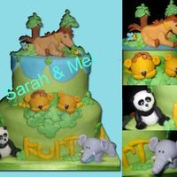 Jungle Cake   chocolate cake covered with fondant, all edible.