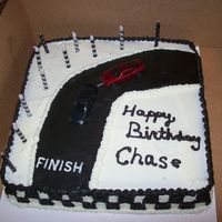 Race Car Cake devils food cake , black is chocolate with black food coloring and white is vanilla. Cake for brother in laws 11th bday....yea he's...
