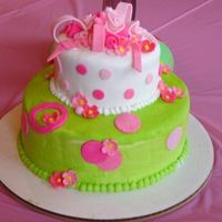 Pink And Green Girly Girl This is the second decorated cake I've made. For my DD family B-D party. Bottom layer is dark chocolate with bc and top layer is...